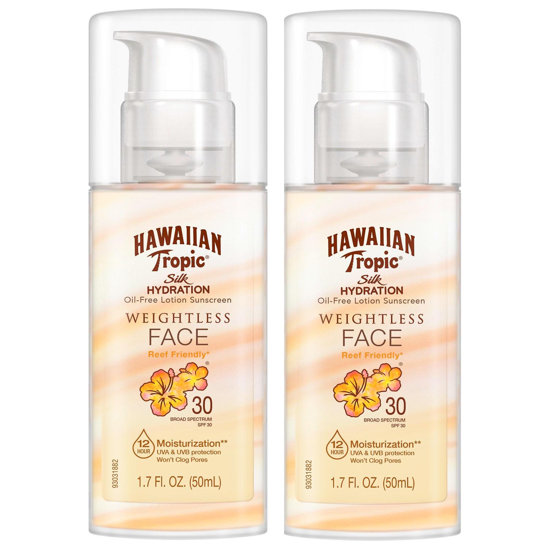 2-Pack Hawaiian Tropic Weightless Face SPF 30 Sunscreen Lotion (1.7 fl. oz)