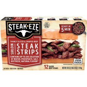 Steak-EZE Thinly Sliced and Shaped Sirloin Steak Strips, Frozen (42 oz.)