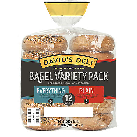 David's Deli Plain and Everything Bagels Variety Pack (12 ct.)