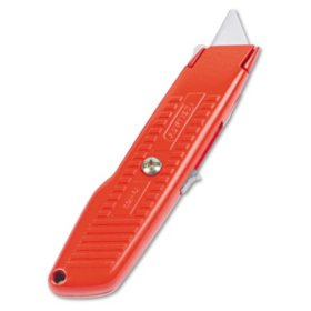 Stanley - Interlock Safety Utility Knife w/Self-Retracting Round Point Blade, Orange