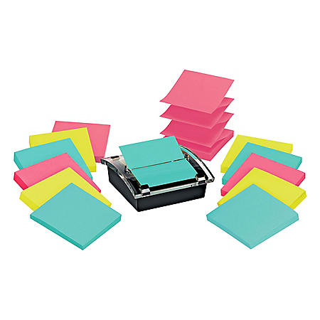 "Post-it Super Sticky Pop-up Notes Dispenser for 3"" x 3"" Notes, 1 Dispenser and 12 Pads of Pop-up Notes"