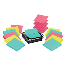 3M Post-it Note Dispenser Includes 2, 6 Packs of Super Sticky Post-it Pop-up Notes in Miami Colors