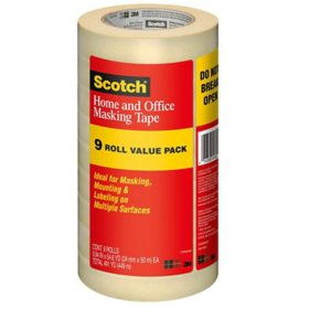 "Scotch Masking Tape, 1"" x 55 yds., 3"" Core, Tan, 9 Pack"