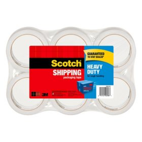 "Scotch Heavy Duty Shipping Packaging Tape, 1.88"" x 60.15 yd, 6-Pack"