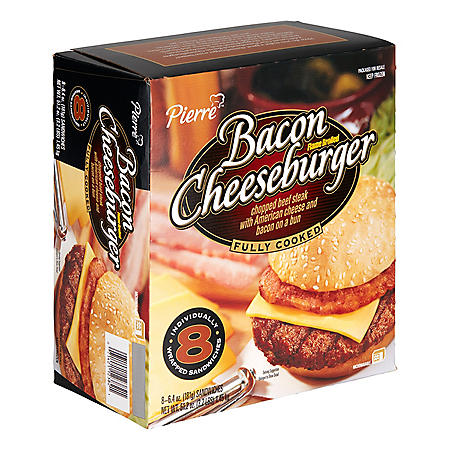 Pierre Fully Cooked Flamebroiled Bacon Cheeseburger, Frozen (8 ct.)