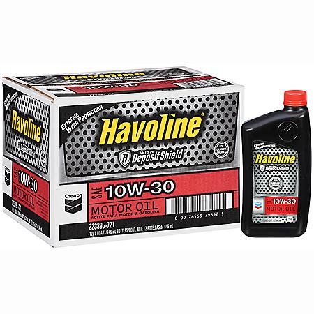 Chevron Havoline w/Deposit Shield 10w30 Motor Oil - 1 Quart Bottles - 12 pk.
