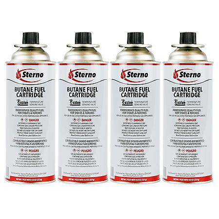 Sterno Butane Fuel w/TSV (8oz., 4pk.)