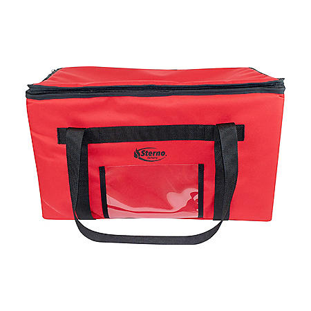 Sterno Delivery Leak-Proof Insulated Food Carrier Bag, Red