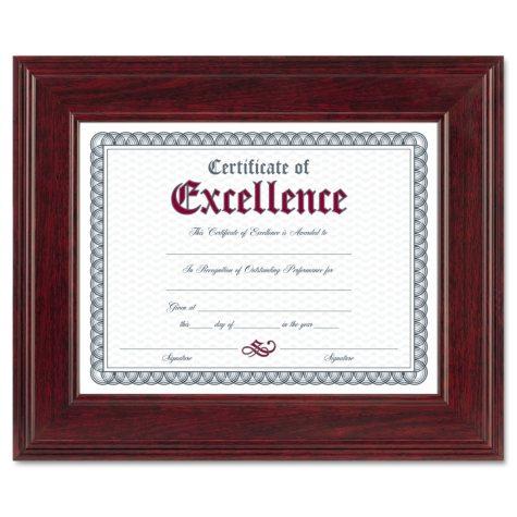 Dax Executive Document/Photo Frame, Desk/Wall Mount, Wood, 8-1/2 x 11, Mahogany