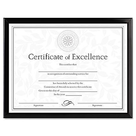Dax Value U-Channel Document Frame w/Certificates, 8-1/2 x 11, Black