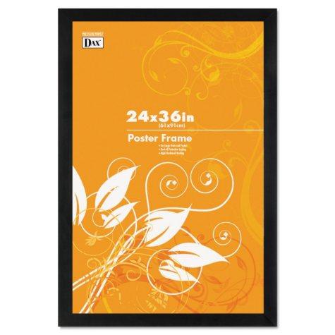 Dax Black Wood Poster Frame w/Plastic Window, Wide Profile, 24 x 36