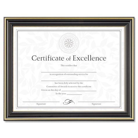 """Dax - Gold-Trimmed Document Frame w/Certificate, Wood, 8 1/2"""" x 11""""- Black"""