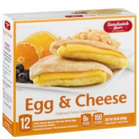 Sandwich Bros. Egg & Cheese Flatbread Pocket Breakfast Sandwiches, Frozen (12 ct.)