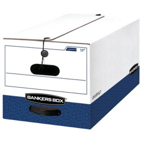 Bankers Box LIBERTY Heavy-Duty Strength Storage Box, White/Blue (Letter, 12/Carton)