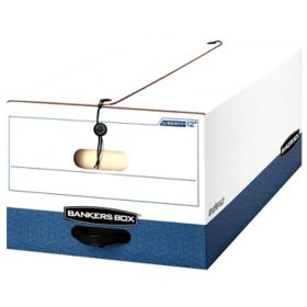 Bankers Box Liberty Heavy-Duty Strength Storage Box, White/Blue (Legal, 12/Carton)