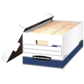 Bankers Box Storage Box with Lift Lid, White/Blue (Letter, 12/Carton)