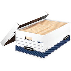Bankers Box STOR/FILE Storage Box with Locking Lid, White/Blue (Legal, 12/Carton)
