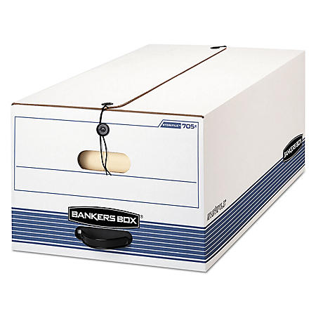 STOR/FILE Storage Box with Button Tie, White/Blue (Legal,12/Carton)