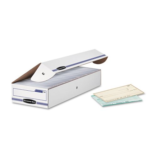 Bankers Box STOR/FILE Check Storage Box with Flip-Top Lid, White/Blue (12/Carton)