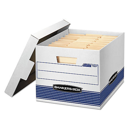 Bankers Box Med-Duty Storage Boxes with Locking Lid, White/Blue (Letter/Legal, 12/Carton)