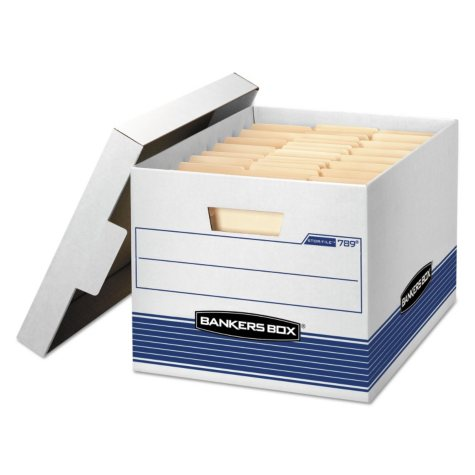 Bankers Box STOR/FILE Med-Duty Storage Boxes with Locking Lid, White/Blue (Letter/Legal, 12/Carton)