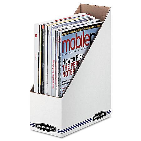"Bankers Box Corrugated Cardboard Magazine File,  White (4""W x 9 1/4""D x 11 3/4""H, 12/Carton)"