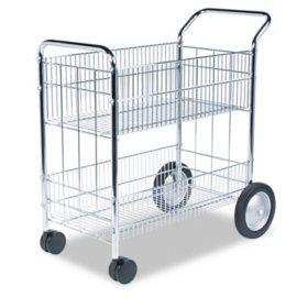 Fellowes - Wire Mail Cart, 21-1/2w x 37-1/2d x 39-1/4h -  Chrome