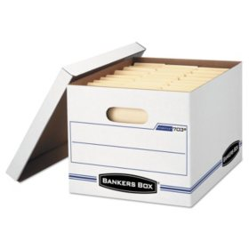 Bankers Box Stor/File Storage Box with Lift-Off Lid, White, Letter/Legal (6-Pack)