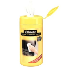 "Fellowes - Screen Cleaning Wet Wipes, 5.12"" x 5.90"" -  100/Tub"