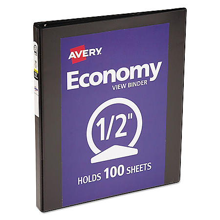 "Avery Economy View Binder with Round Rings , 3 Rings, 0.5"" Capacity, 11 x 8.5, Black"