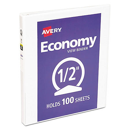 "Avery Economy View Binder with Round Rings , 3 Rings, 0.5"" Capacity, 11 x 8.5, White"