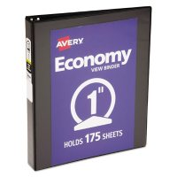 """Avery Economy View Binder with Round Rings , 3 Rings, 1"""" Capacity, 11 x 8.5, Black"""