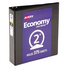 "Avery Economy Vinyl Round Ring View Binder, 2"" Capacity - Black"
