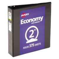 """Avery Economy View Binder with Round Rings , 3 Rings, 2"""" Capacity, 11 x 8.5, Black"""