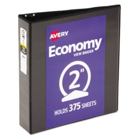"Avery Economy View Binder with Round Rings , 3 Rings, 2"" Capacity, 11 x 8.5, Black"
