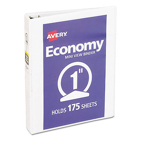 "Avery Economy View Binder with Round Rings , 3 Rings, 1"" Capacity, 8.5 x 5.5, White"