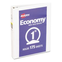 """Avery Economy View Binder with Round Rings , 3 Rings, 1"""" Capacity, 8.5 x 5.5, White"""