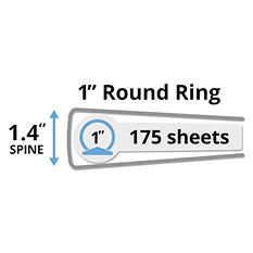Avery Mini Durable Binder with Round Rings, 5 1/2 x 8 1/2, Black (Select Size)
