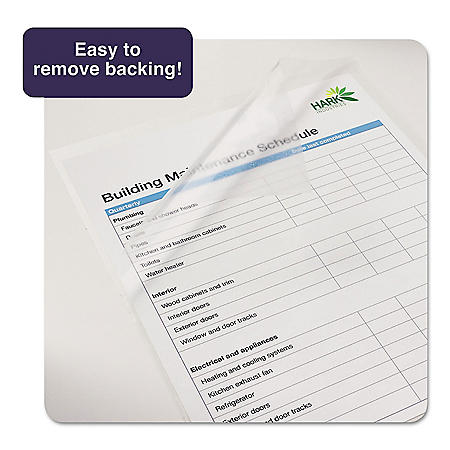 """Avery Clear Self-Adhesive Laminating Sheets, 3 mil, 9"""" x 12"""", Matte Clear, 50/Box"""