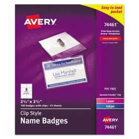 Avery Clip-Style Badge Holder with Laser/Inkjet Insert, Top Load, 3.5 x 2.25, White, 100/Box