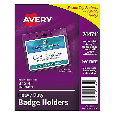 Avery Secure Top Heavy-Duty Badge Holders, Horizontal, 4w x 3h, Clear, 25/Pack