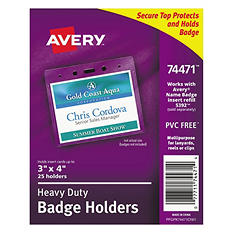 Avery - Heavy-Duty Badge Holders, Horizontal, 4w x 3h, Clear -  25/Pack