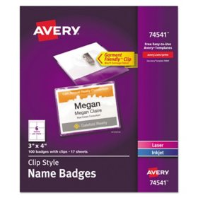 Avery Clip-Style Name Badge Holder with Laser/Inkjet Insert, Top Load, 4 x 3, White, 100/Box