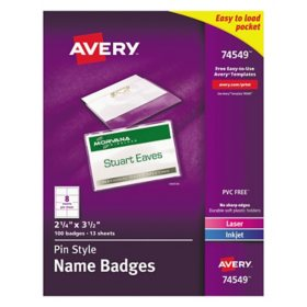 Avery Pin-Style Badge Holder with Laser/Inkjet Insert, Top Load, 3.5 x 2.25, White, 100/Box