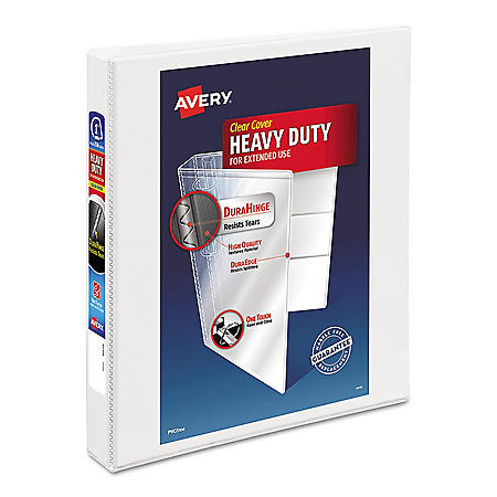 """Avery Heavy-Duty View Binder with DuraHinge and One Touch EZD Rings, 3 Rings, 1"""" Capacity, 11 x 8.5, White"""