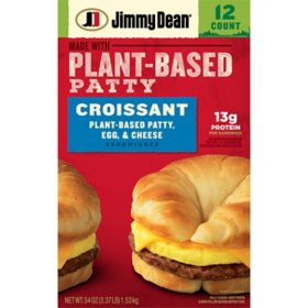 Jimmy Dean Plant-Based Patty, Egg and Cheese Croissant, Frozen (12 ct.)