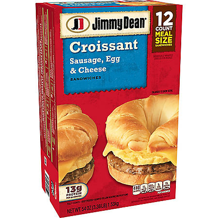 Jimmy Dean Sausage, Egg & Cheese Croissant, Frozen (12 ct.)