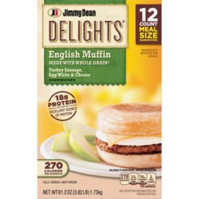 Jimmy Dean Delights Turkey Sausage, Egg White & Cheese Muffin Sandwiches, Frozen (12 ct.)