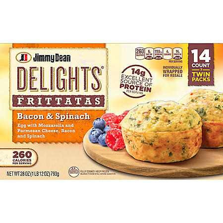 Jimmy Dean Delights Bacon and Spinach Frittatas, Frozen (7 twin packs)