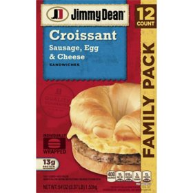 Jimmy Dean Sausage, Egg and Cheese Croissant Sandwiches, Frozen (12 ct.)